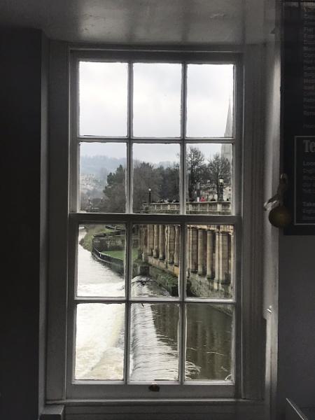 View through window on Pultney Bridge Bath by caj26