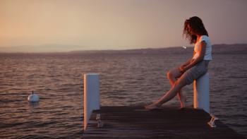Karen in the dusk at Lake Geneva