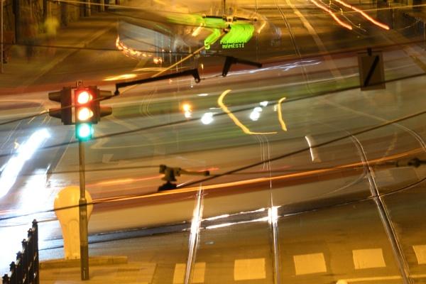 Tram turning right by konig