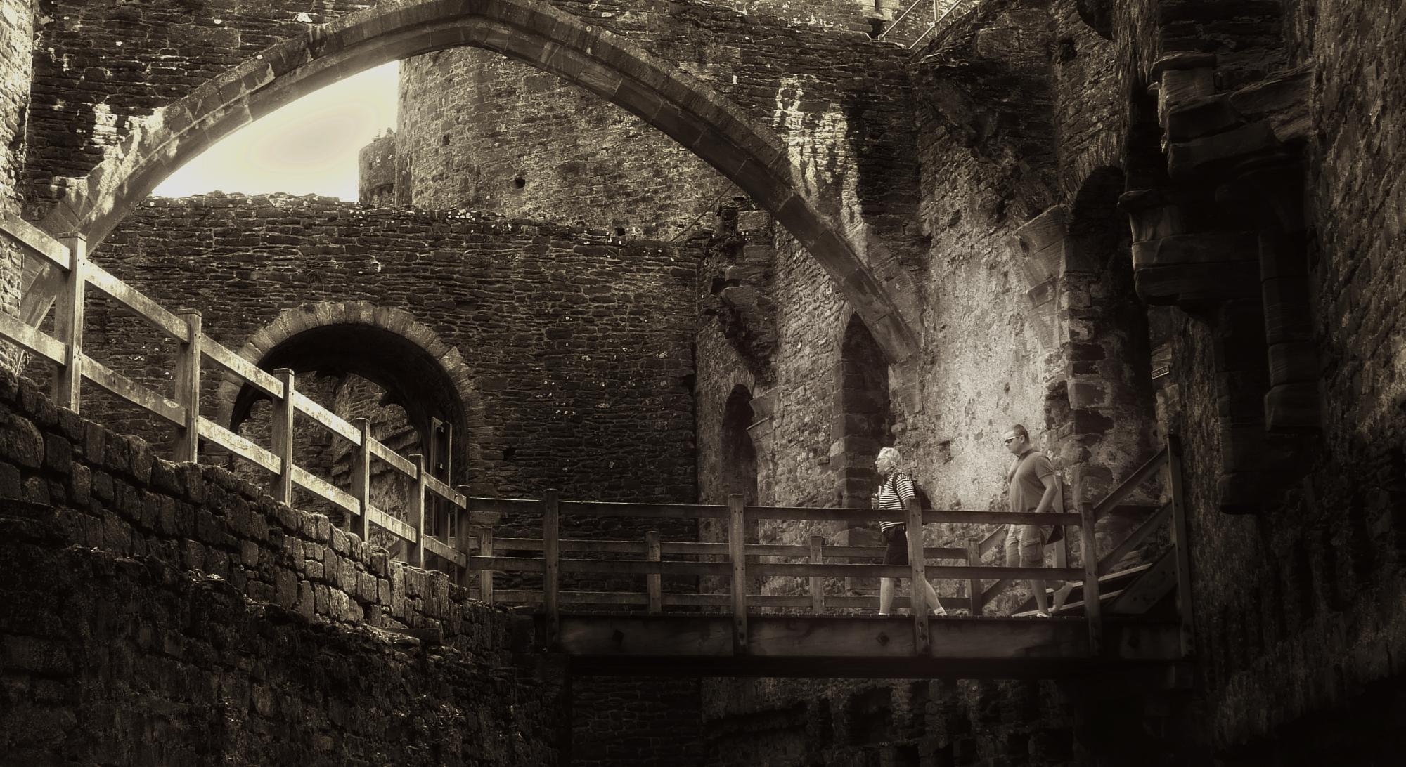 Exploring Conwy Castle.