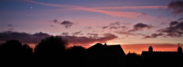 Waxing Crescent moon at Sunset last night