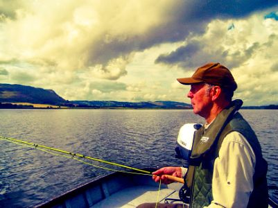 Trout Fly Fishing, on Loch Leven, Fife, Scotland.