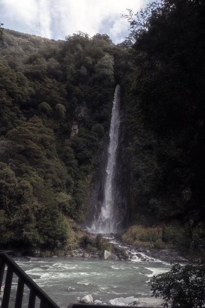 Thunder Creek falls on River Haast NZ by Janetdinah