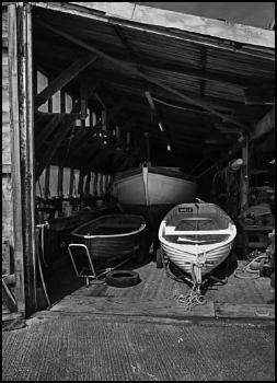 Boat repair shed.