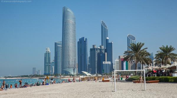 "Abu Dhabi skyline----\"" No permit to work, no photos\"" beach security by brian17302"