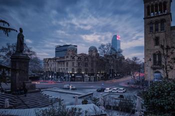 Early evening view onto Rustaveli Avenue, Tbilisi