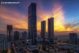 Keangnam Landmark Tower 72 in sunset