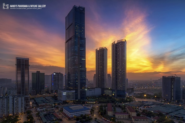 Keangnam Landmark Tower 72 in sunset by vulong