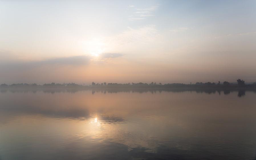 Fog at sunrise on Nile