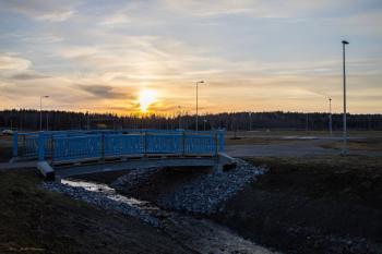 Sunset and the blue bridge.