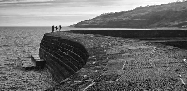 Film Crew On The Cobb, Lyme Regis by starckimages