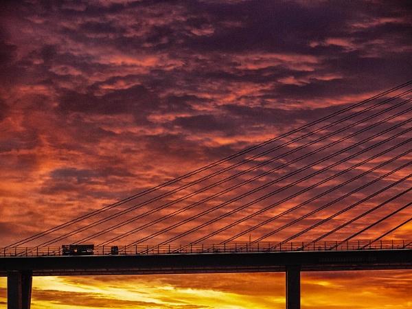 Bridge Repairs At Sundown by kaybee