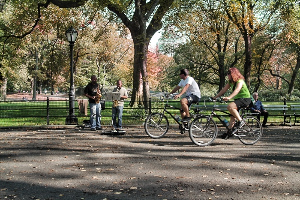 Busking and Biking in Central Park by sandwedge