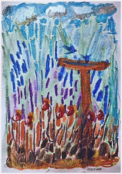 The Red Birdbath by DonSchaeffer