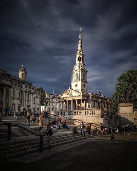 Trafalgar Square looking towards St Martins in the fields church by StevenBest