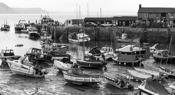 Harbour, Lyme Regis, at low tide by starckimages