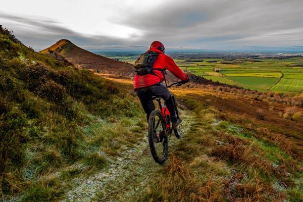 Roseberry Topping - mountain biker. by terra