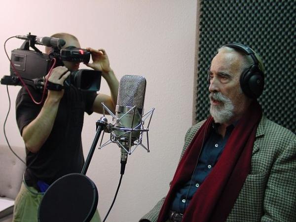 Sir Christopher lee at a recording studio. by christopherleeidol