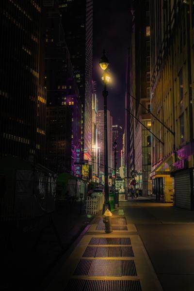 New York street at night by bobbyl