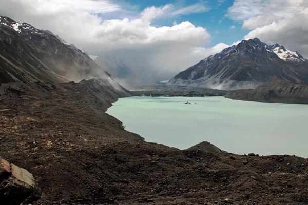 Tasman Glacial Lake in Mount Cook National Park NZ by Janetdinah