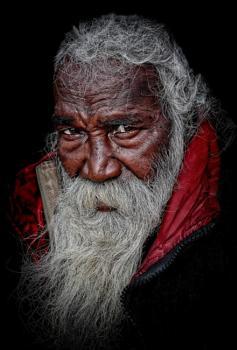 Old pilgrim at Sri Mata Mansa Devi Temple in Haridwar