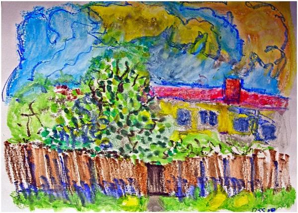 Backyard in Summer (watercolor crayon) by DonSchaeffer