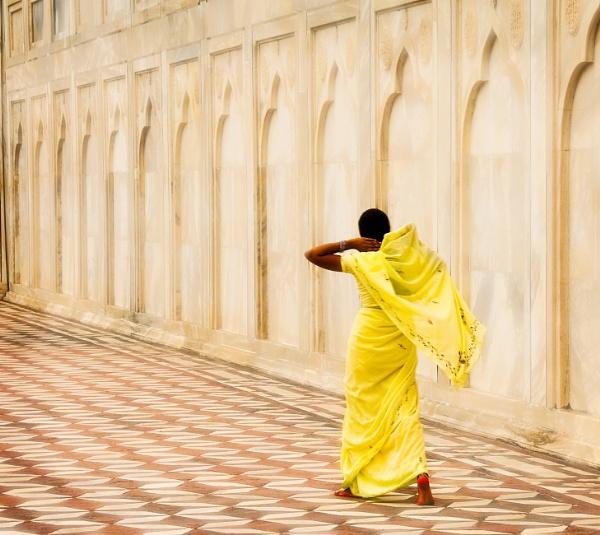 Yellow Sari Taj Mahal Agra India by Ron50