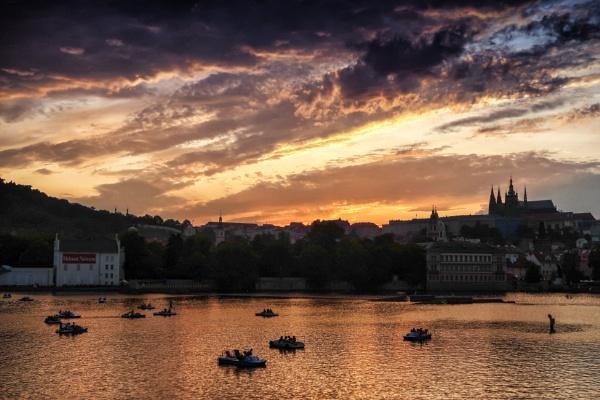 Prague Pedalo Sunset by Owdman