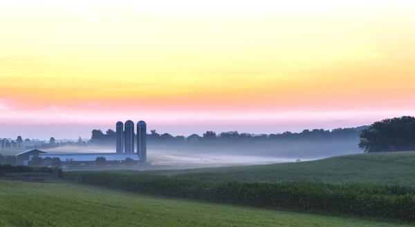 Dawn over the farmland by TDP43
