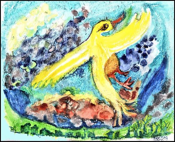 Yellow Bird Celebrating Summer by DonSchaeffer