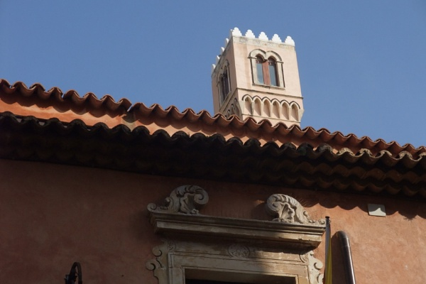 Tower, Tile, and Lintel, Taormina, Sicily by MentorRon