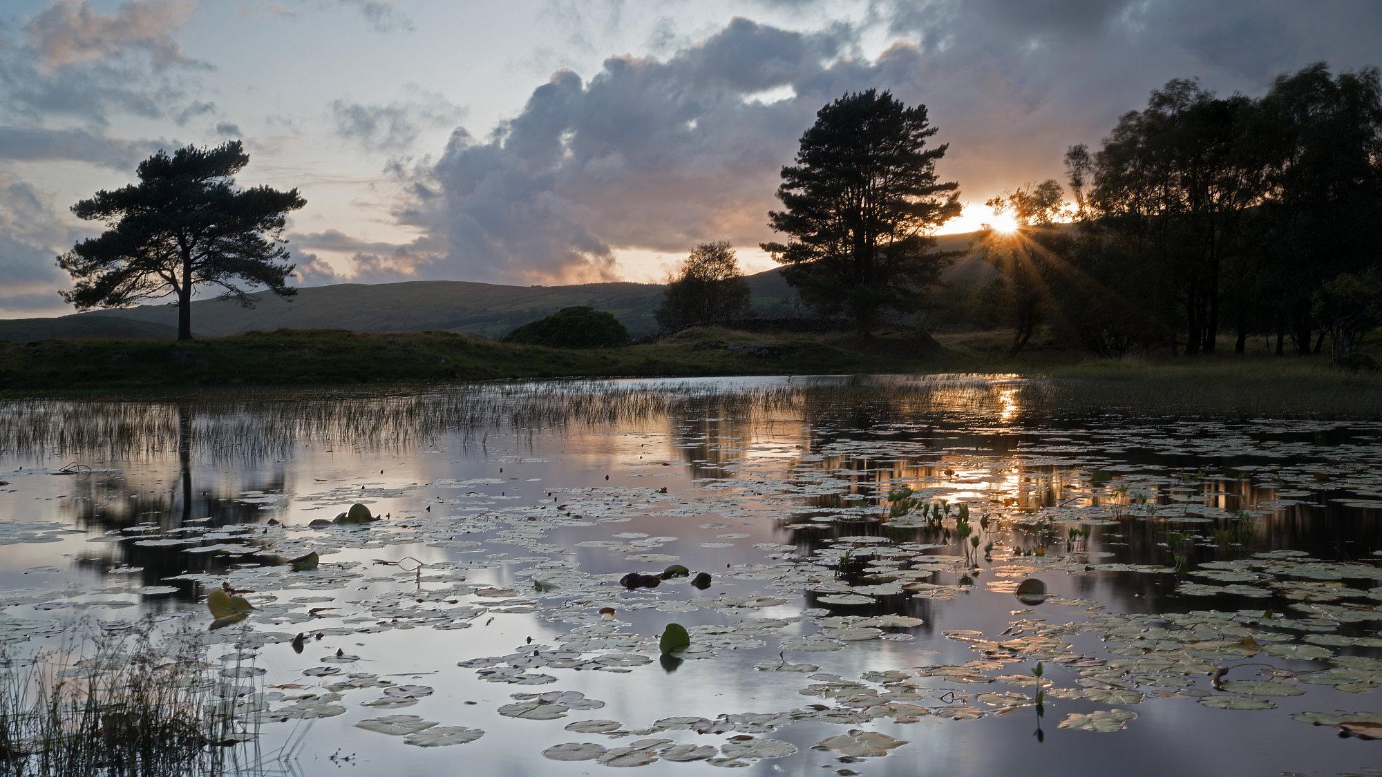 Lake District Tarn at sunset 1