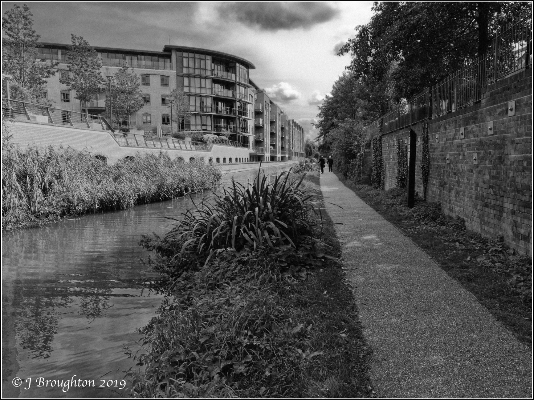 Oxford Canal in monochrome.