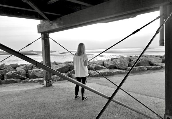 Charlotte And Diagonal Lines At Morecambe Bay. by Debmercury