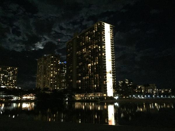 Rainbow Tower at Night, Hilton Hawaiian Hotel by Ninjacam