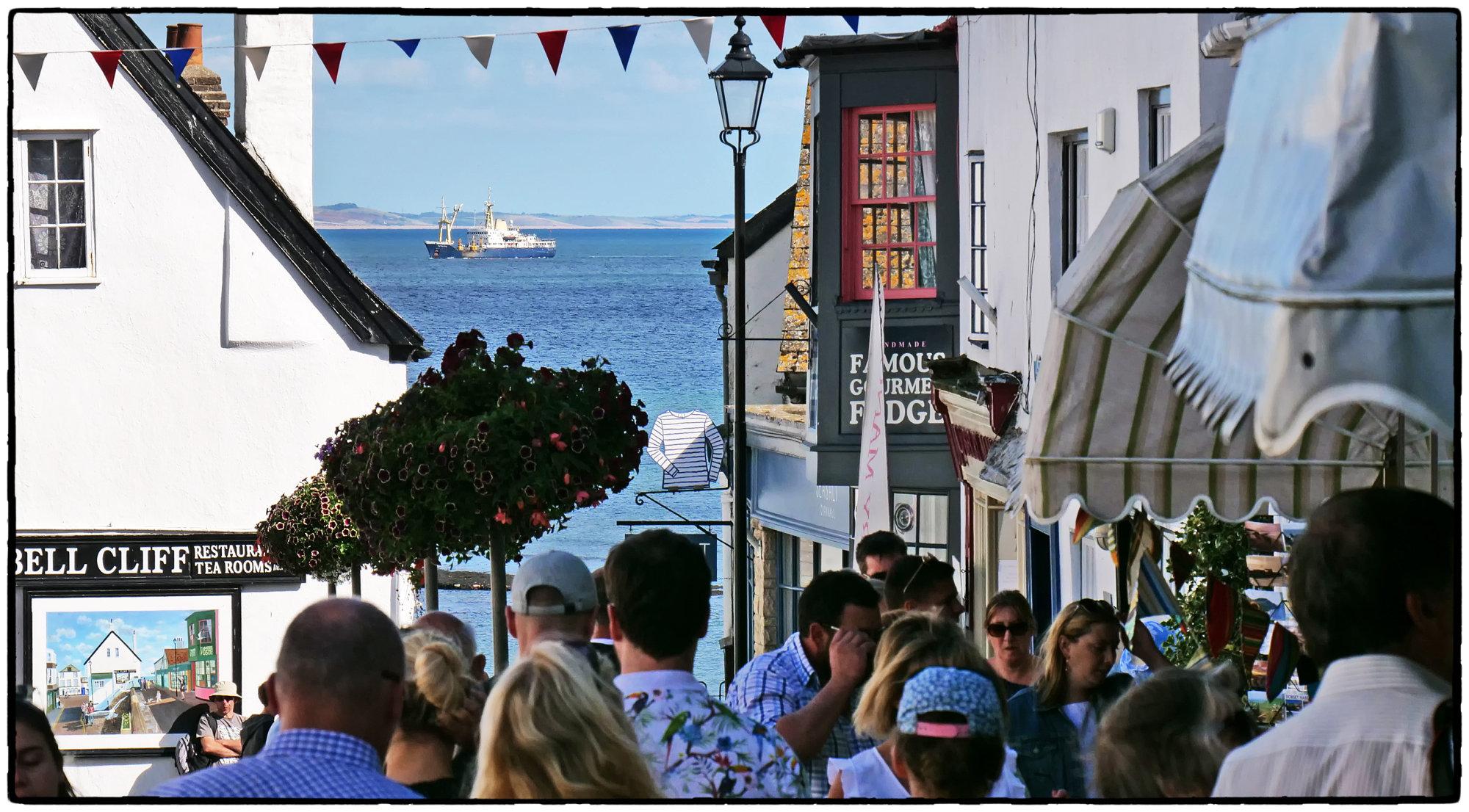 Lyme Regis, Broad Street - Busy Scene