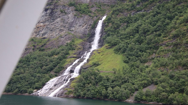 Geiranger fjord by mountains