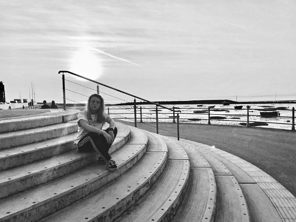 Charlotte At Morecambe Bay Sunset. by Debmercury