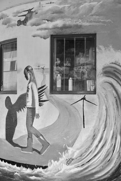 Walking With Her Angel Shadow, Bergen Street Art. by Debmercury