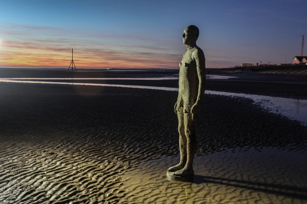 Anthony Gormley, Another Place lit by head torch. by philtaylorphoto