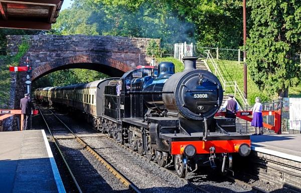 Train entering Bishops Lydeard Station, West Somerset Line. by starckimages