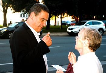 King Street East with Jasper Kujavsky talking to a voter