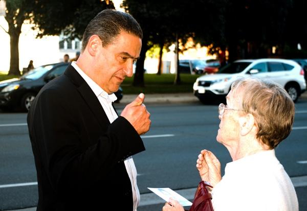 King Street East with Jasper Kujavsky talking to a voter by TimothyDMorton