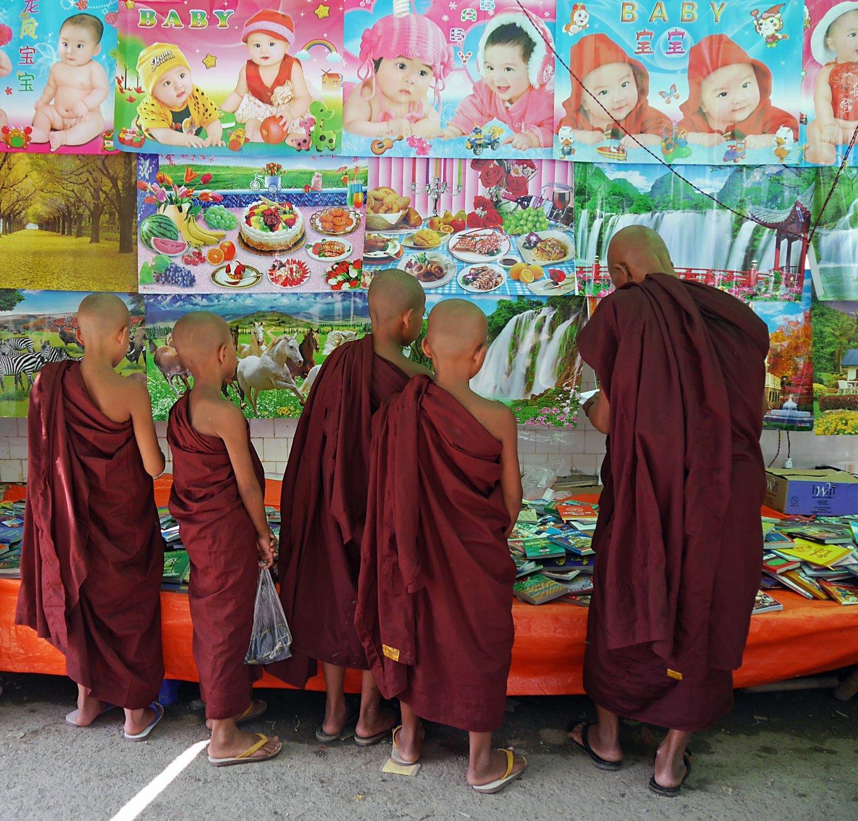 Novices at festival funfair, Myanmar