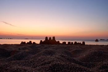 Sandcastle at sunrise.