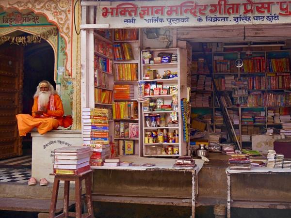 Pushkar bookshop .. and sadhu by chrisdunham