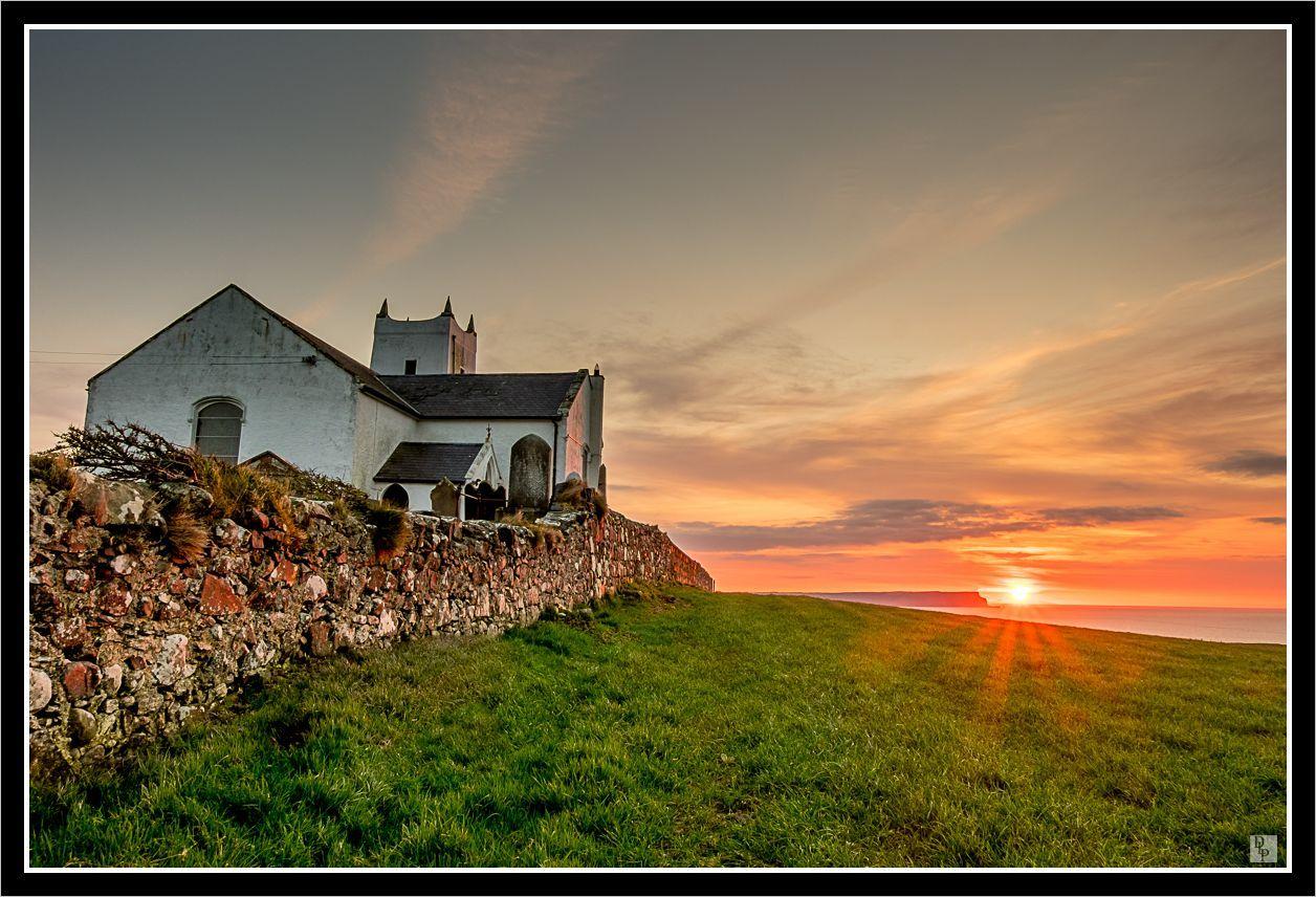 Sunset at Ballintoy Church