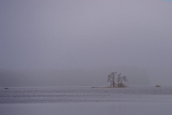 Misty lake by Leikon