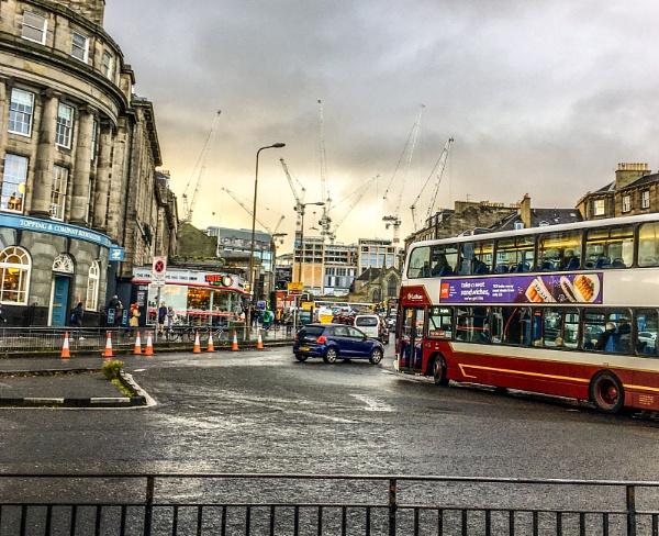 Bus and Cranes, Edinburgh. by Pinarellopete