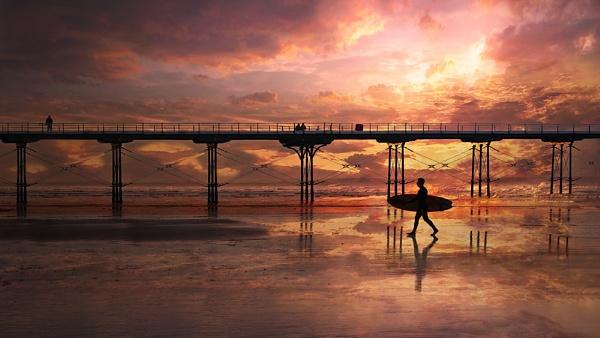 saltburn pier sunset by kenwil